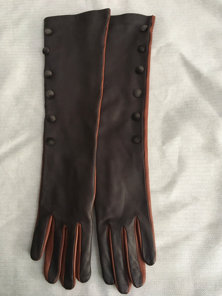 Gizelle Renee Runaway Izumi Brown & Tan Long Leather Gloves Size 7 Ladies