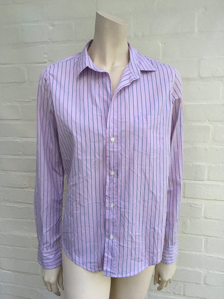 "Frank & Eileen ""Eileen"" Striped Purple Shirt Size S Small Ladies"