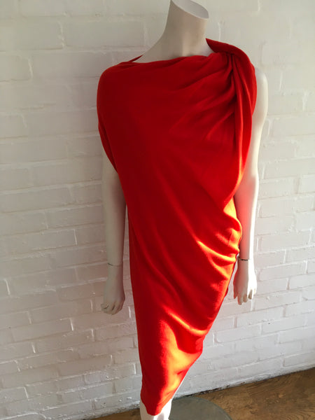 LANVIN Women's Red Draped Asymmetric Neck Wool Knit Dress Ladies
