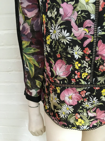 3.1 PHILLIP LIM Cold-shoulder lace-paneled floral-print silk-crepe blouse US 6 ladies