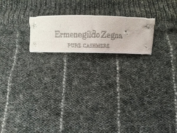 ERMENEGILDO ZEGNA PURE CASHMERE GREY WHITE STRIPED JUMPER SWEATER SZ I 52 L LARGE MEN