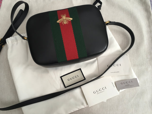 GUCCI Women's Black 'webby' Bee Embroidery Web Leather Crossbody Bag Handbag ladies