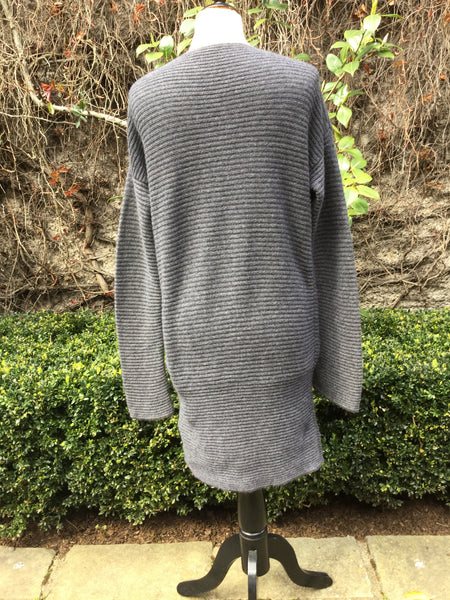 JIL SANDER RIBBED CASHMERE GREY KNIT SWEATER DRESS SIZE 36 S SMALL LADIES