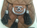 CHANEL Runaway Calfskin Coco Sporran Small Tassel Flap in Beige Brown LADIES