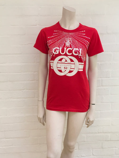 Gucci Red Swarovski Crystal-Embellished Printed T-Shirt Ladies