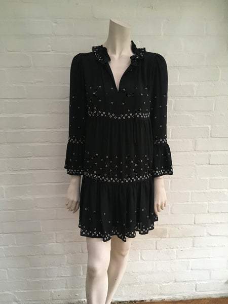 THE KOOPLES Black Eyelet-embellished Woven Mini Dress LADIES