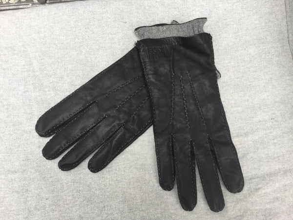 Hugo Boss Black Mens Leather and cashmere lining gloves Men
