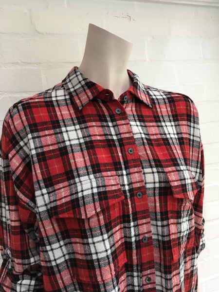 JOSEPH CHECK WOOL SHIRT TOP/ DRESS  LADIES