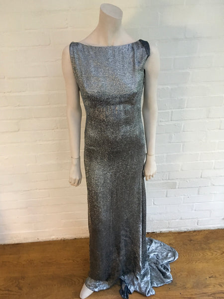 VICTORIA BECKHAM RUNAWAY COUTURE SILVER METALLIC DRESS GOWN LADIES
