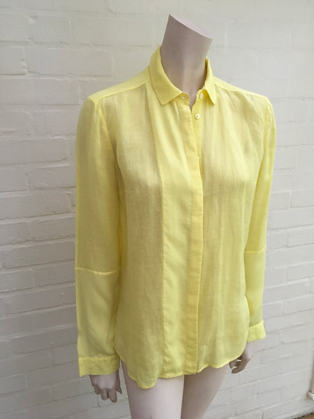 Joseph Ramie Voile and Georgette Dia Blouse Shirt in Yellow Size 38 S Small ladies