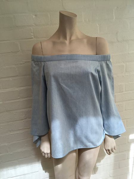 TIBI Off-the-shoulder cotton-chambray blue top blouse Size US 4 UK 8 S Small Ladies
