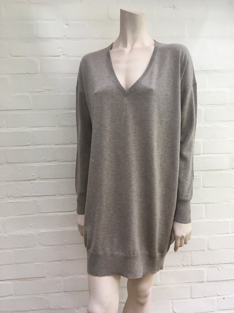 JOSEPH Brown KNIT SILK & WOOL & CASHMERE SWEATER MINI DRESS ~ M medium Ladies
