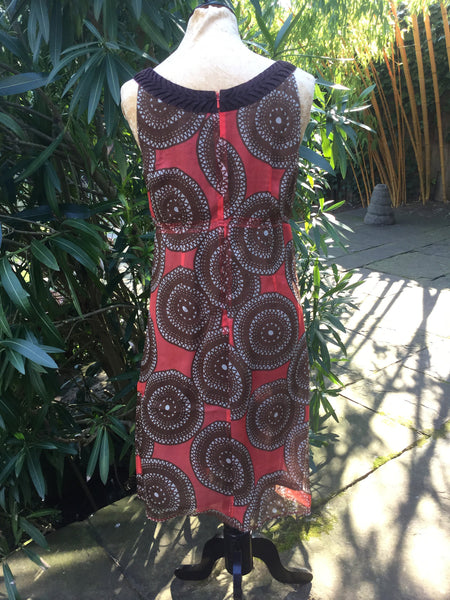 Tory Burch Multicolor Print Silk Sleeveless Pleated Empire Dress SZ 6 UK 10  LADIES