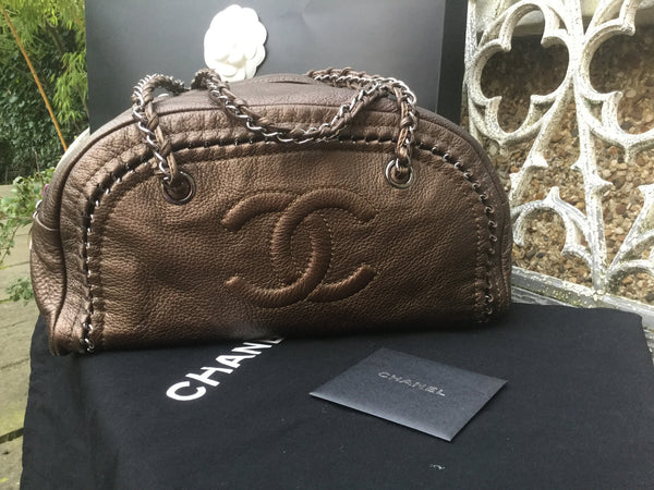 CHANEL Deerskin Luxe Ligne Medium Bowler Tote Metallic Khaki Handbag Bag Ladies