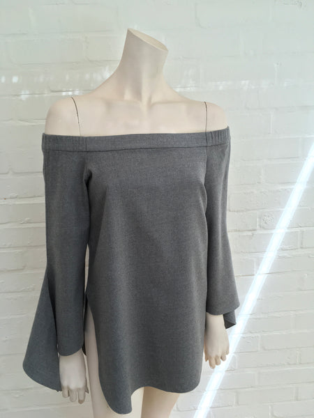 TIBI Off-the-shoulder stretch-wool twill top tunic Size US 0 UK 4 XXS Ladies