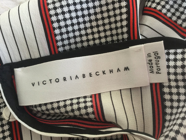 VICTORIA BECKHAM Runaway Printed silk top 2015 Collection UK 12 US 8 F 40 I 44  LADIES