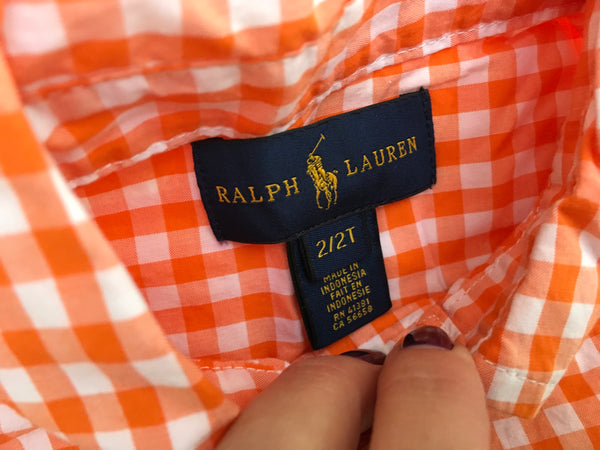 RALPH LAUREN Boys Shirt Kids Gingham Orange Long Sleeved Top 2 years old Children