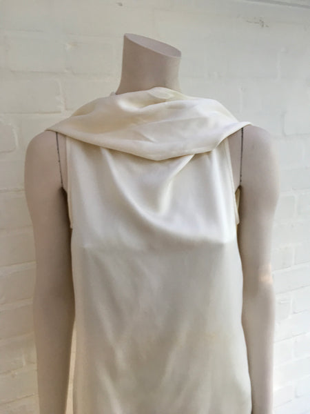 Ann Demeulemeester Cream Cowl Neck Silk Dress LADIES