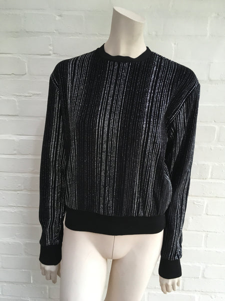 SAINT LAURENT Glitter-Striped Velour Velvet Jumper Sweater Size XS Ladies