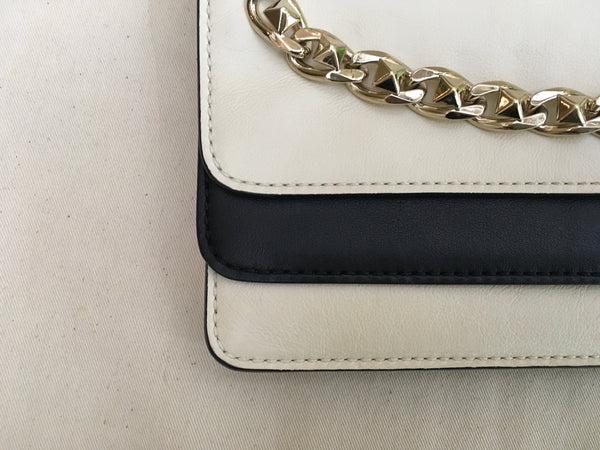 Valentino Bicolor Chain Double Flap Leather Clutch Bag Evening Bag Amazing Ladies