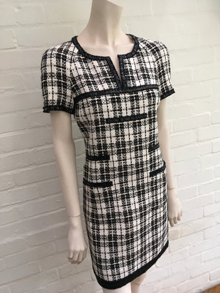 CHANEL Black/White Cotton Blend Tweed Short Sleeved Dress Ladies