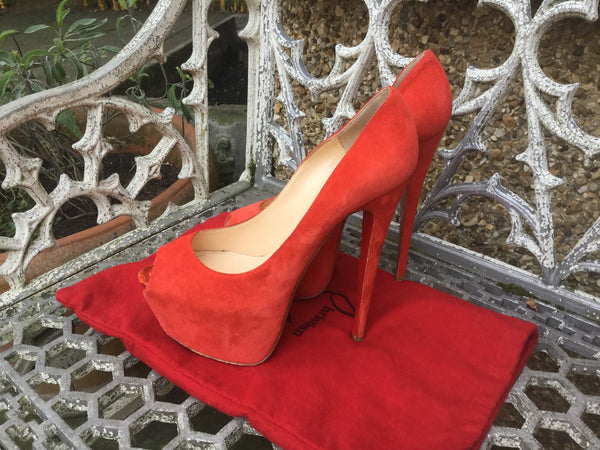 Christian Louboutin Highness 160  pumps shoes  £635 SUEDE RED  & Pony Fur LEOPARD SIZE 39 UK 6 US 9 SOLD OUT Ladies