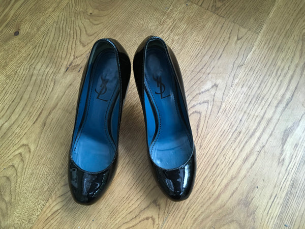 YVES SAINT LAURENT YSL Patent Tribute Two Platform Pumps Shoes LADIES
