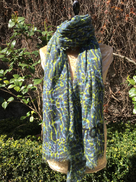 LOUIS VUITTON Lezard Stole Blue Green VIP Scarf Cashmere & Silk Ladies