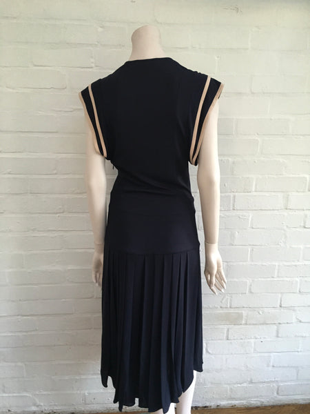 CHLOÉ Pleated Navy Midi Dress Ladies