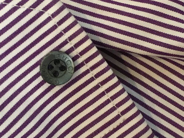 GUCCI LONG SLEEVE BUTTON-UP STRIPED SLIM FIT SHIRT SIZE 43 17 XXL Men
