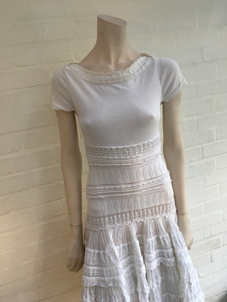 AZZEDINE ALAÏA ALAIA Passiflore Fit & Flare Pleated Lace Dress F 36 UK 8 US 4 Ladies