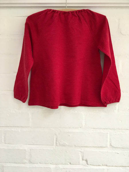 Petit Bateau Red Cotton with Tiny Dots Top Sweatshirt  Children