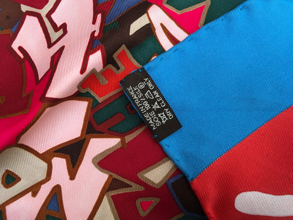 Hermès Kongo x Hermes Paris GRAFFITI Limited Edition Scarf Silk 90 cm Very Rare Ladies