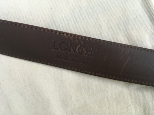 LONGHI Size 36 Brown Leather Belt for Bergdorf Goodman Men
