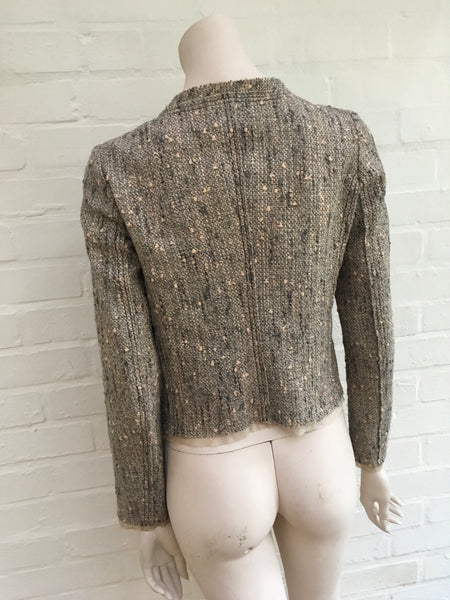 PRADA Tan Tweed Linen & Wool Snap Blazer Jacket  Ladies