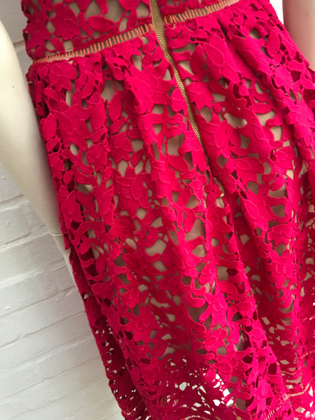 Self Portrait Azaelea Red Heavy Lace Midi Dress SIZE UK 10 US 6 Ladies