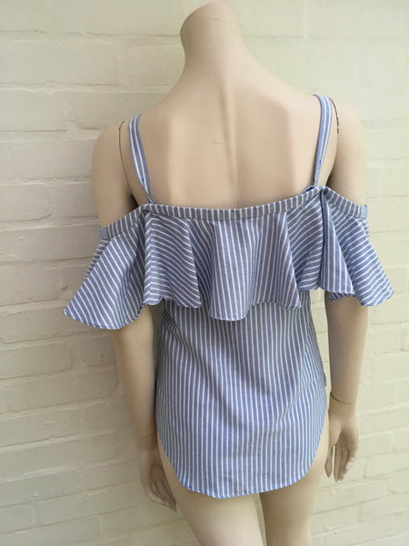 Veronica Beard Grant cold-shoulder ruffled striped cotton blouse Ladies