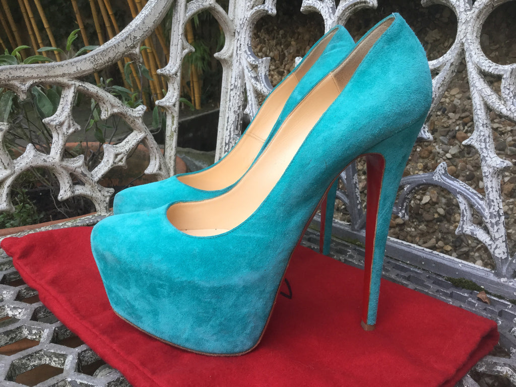louboutin 39 1/2 blue suede louboutin trainers