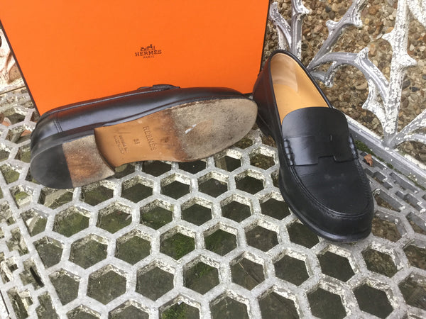 Hermès KENNEDY Black Leather Slip-Ons Loafers/Flats Sz 36 UK 3 US 6 $1190 HANDMADE Shoes