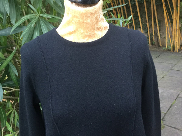 CHRISTIAN DIOR BLACK CASHMERE BLEND KNIT SWEATER JUMPER TUNIC F 36 GB 8 I40 US 4 Ladies