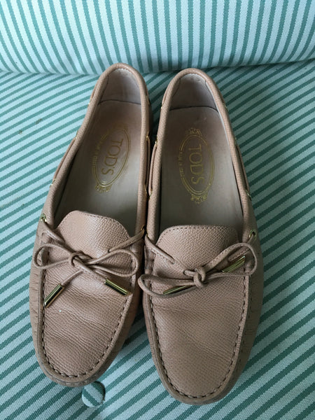 TOD'S Beige Leather Penny Moccasins Flats Driving Shoes Size 36 UK 3 US 6 Ladies