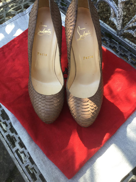 CHRISTIAN LOUBOUTIN Camel Snakeskin 'Bianca 140' Platform Pumps Shoes Size 39 UK 6 US 9 Ladies