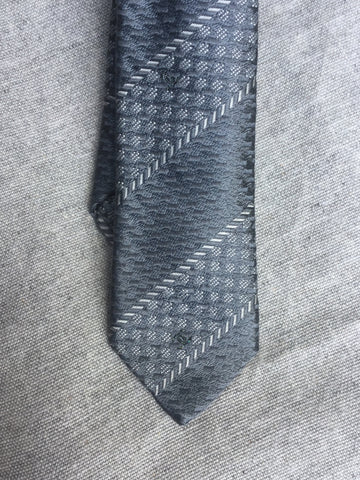 CHANEL Grey Logo Print Tie 100% AUTHENTIC Men