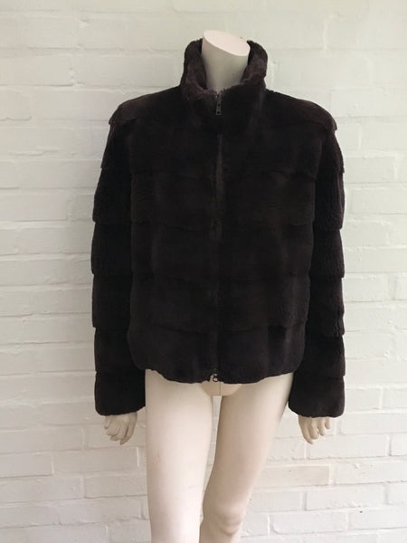 Neiman Marcus Brown Sheared Mink Fur Short Jacket Coat L large Ladies