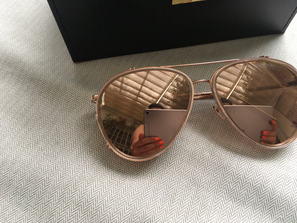 LINDA FARROW LFL744C6SUN OVERSIZED ROSE GOLD SUNGLASSES Ladies