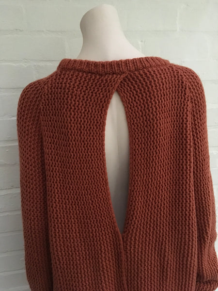 Jasmine di Milo Chunky Knit Open Back Sweater Dress Jumper Oversized Fits All LADIES
