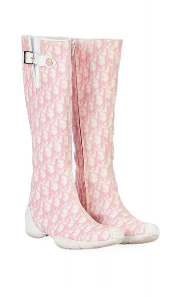 CHRISTIAN DIOR  Diorissimo Pink Zip Up Boots Size 38 Ladies
