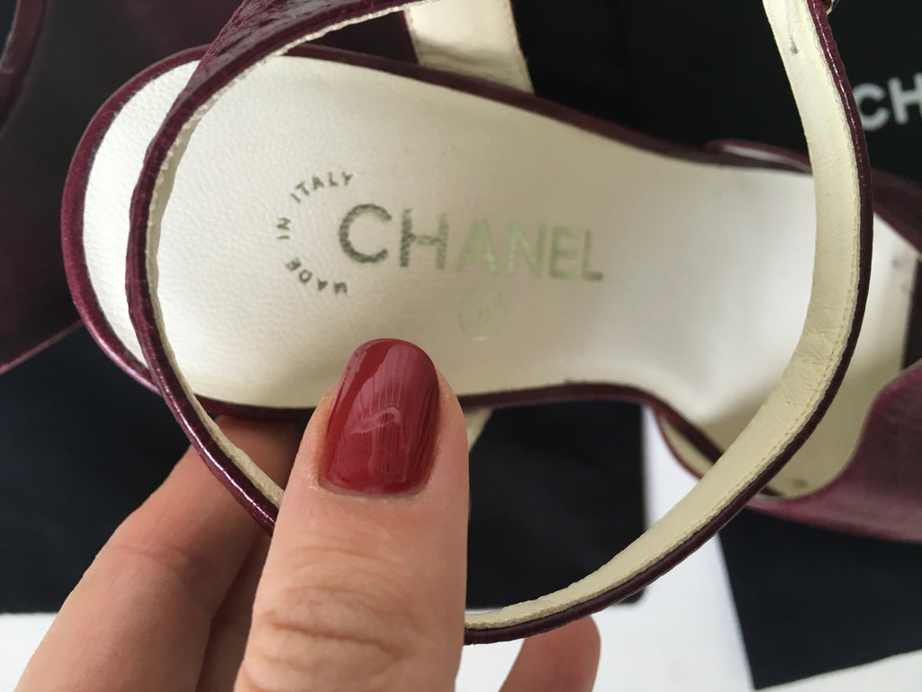 636a136df8b ... CHANEL Burgundy Leather Platform Wedge Sandals Size 37 1 2 Ladies ...