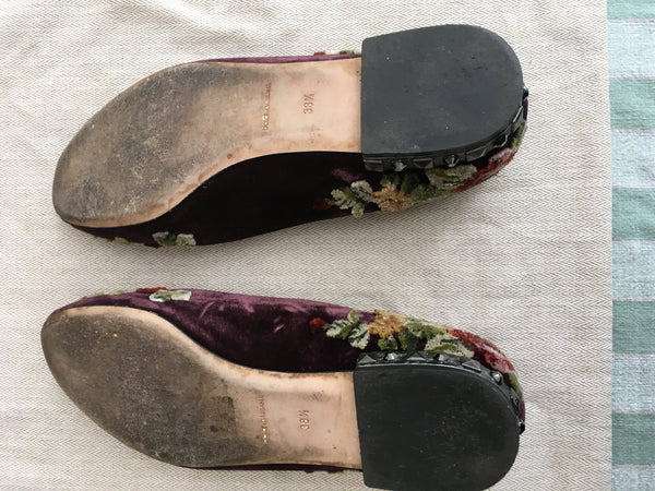 DOLCE & GABBANA FLOWERS KEYS Velvet Eggplant Embellished  ESPADRILLES FLATS SHOES LADIES