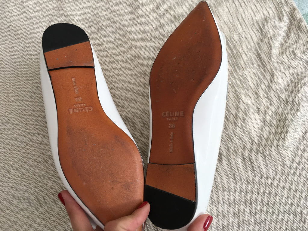 cheap sneakernews wide range of sale online Céline Suede Pointed-Toe Flats WFHraogxU